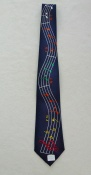 Gents Necktie with Wavering notes on Blue Background
