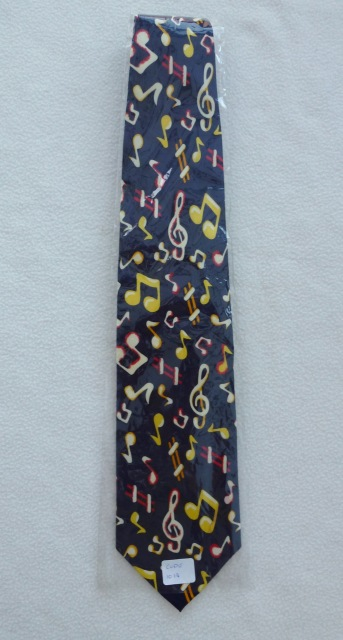 80c50dc75f20 Gents Necktie with Colourful notes on Blue background