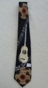 Gents Neck Tie with CDs & Acoustic Guitar on black