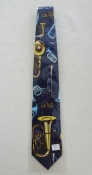 Gents Necktie with various Brass on Blue