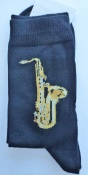 Pair of Socks With Alto Sax Design. Medium